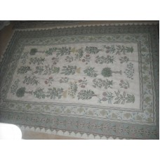 Crewel Rug Flowers and Trees Chain stitched Wool Rug