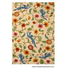 Crewel Rug Flowers Yellow and Leaves Blue on Beige Background Chain stitched Wool Rug