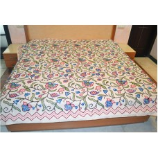 Multi Floral Blue and Pink Crewel Bed Coverlet
