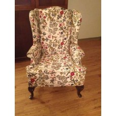 Crewel Queen Anne Wingback Cotton Duck Upholstered Chair