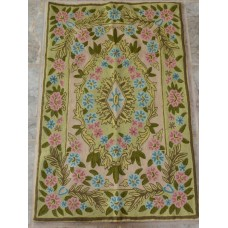 Crewel Rug  Pastel Garden Multi Chain Stitched Wool Rug