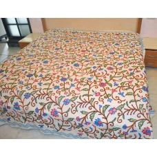Scroll Cream Crewel Bed Coverlet