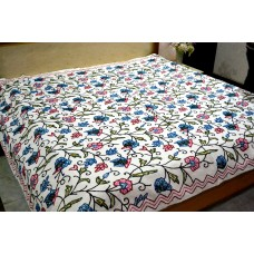 Spiral Vines Ivory Crewel Bed Coverlet