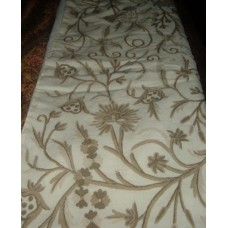 Crewel Throw Tree of Life Neutrals on Off White 100% Wool with S